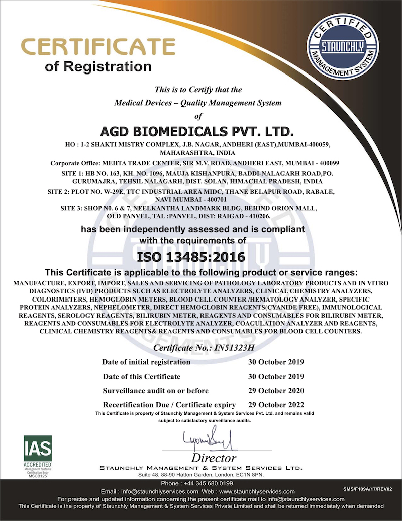 ISO 13485:2016 CERTIFICATE